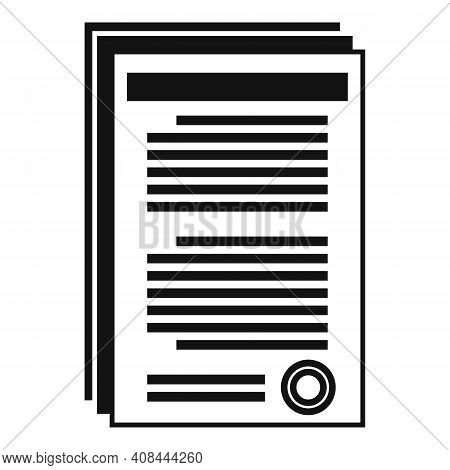 Notary Documents Icon. Simple Illustration Of Notary Documents Vector Icon For Web Design Isolated O