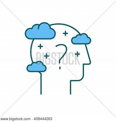 Cognitive Impairment Rgb Color Icon. Dementia, Alzheimer Disease. Problem With Memory And Thinking S