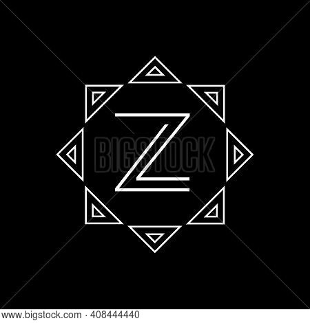 Vector Geometric Abstract Linear Logo On A Black Background.. Vector Letter Logo. Emblem With The Le