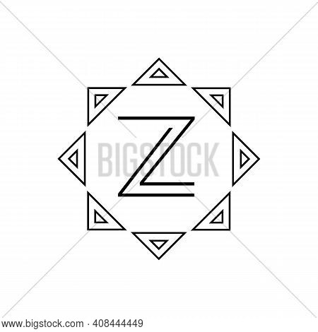 Vector Geometric Abstract Linear Logo On A White Background. Vector Letter Logo. Emblem With The Let