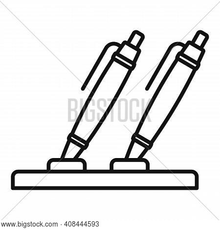 Notary Pens Stand Icon. Outline Notary Pens Stand Vector Icon For Web Design Isolated On White Backg