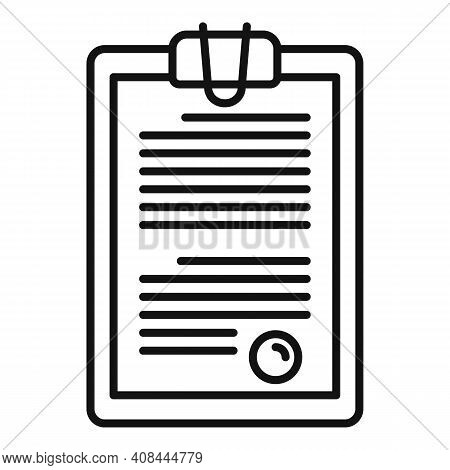 Notary Clipboard Icon. Outline Notary Clipboard Vector Icon For Web Design Isolated On White Backgro