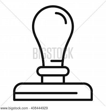 Notary Metal Stamp Icon. Outline Notary Metal Stamp Vector Icon For Web Design Isolated On White Bac
