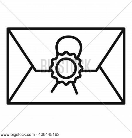 Notary Testament Letter Icon. Outline Notary Testament Letter Vector Icon For Web Design Isolated On