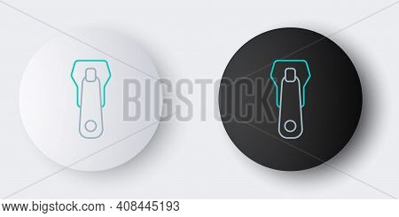 Line Zipper Icon Isolated On Grey Background. Colorful Outline Concept. Vector