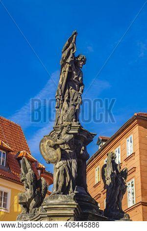 Detail Of Statue Of John The Baptist On Maltese Square In Prague, Czech Republic