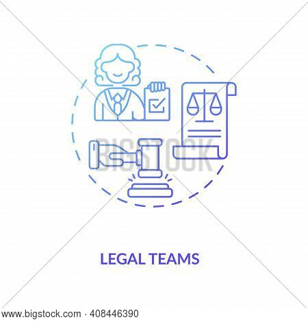Legal Teams Concept Icon. Contract Management Software Company Users. Organisation Of Main Accountab