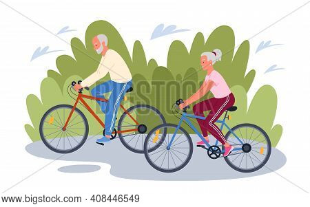 Elderly Senior People Cycling In Park, Cyclist Grandfather Grandmother Ride Bicycles