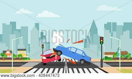 Accident, Collision Of Two Cars Against The Background Of A Cityscape. Vector, Cartoon Illustration.