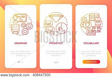 Language Studying Categories Onboarding Mobile App Page Screen With Concepts. Grammar, Wordstock Wal