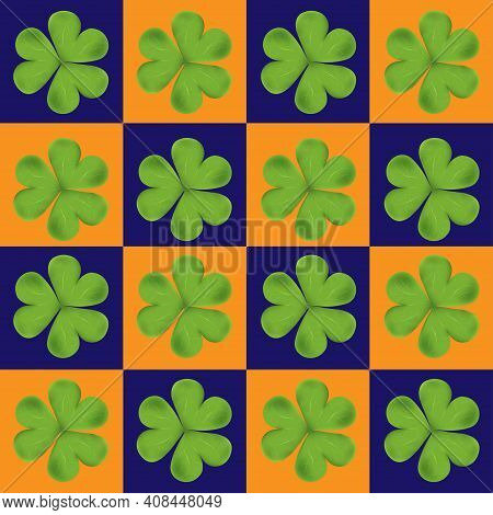 Vector Seamless Clover Irish Shamrock Leaves On Blue,orange Background.pattren Irish Symbol Good Luc