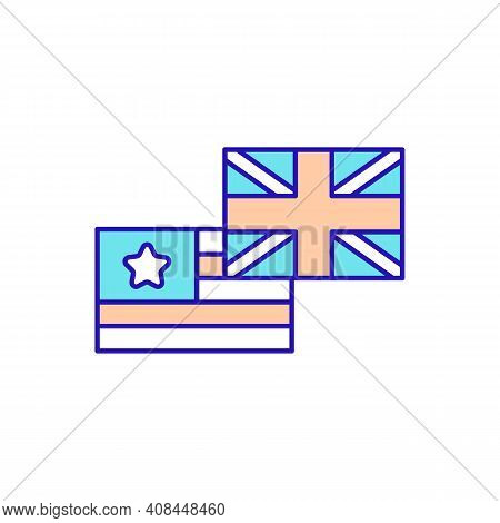British And American English Rgb Color Icon. Different Perspectives On Language. Written And Spoken