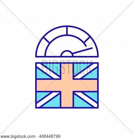 Advanced British English Rgb Color Icon. Studying At High Level. Foreign Language Skills Improvement