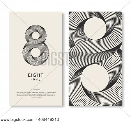 Business Card Template With Eight Logo And Strip Pattern. Vector Illustration. Corporate Icon Minima