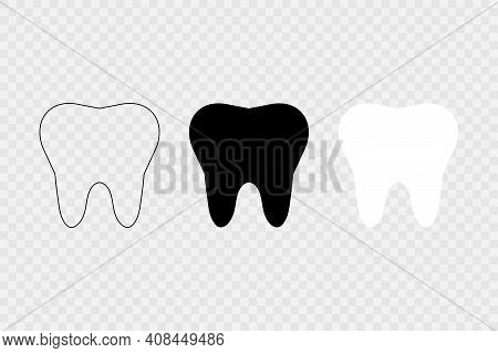 Tooth Icons Set. Tooth Line Vector Icon. Black Tooth Icon. Tooth Medical Symbol Illustration