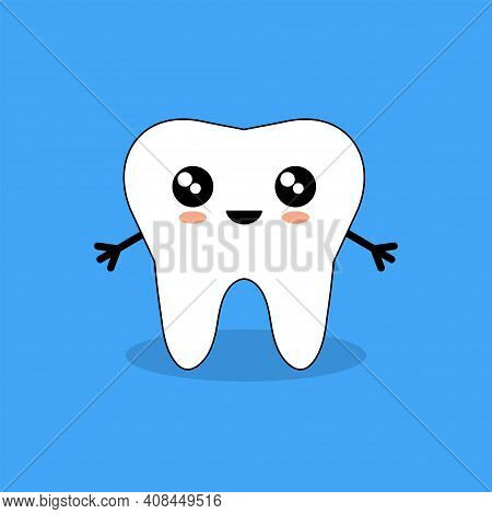 Cartoon Tooth. Cute Funny Cartoon Smiling Character. Tooth Health. Vector Illustration