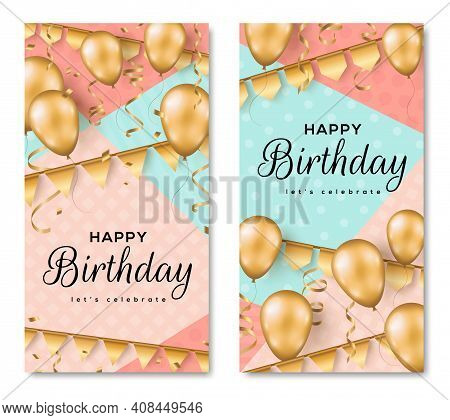 Happy Birthday Background. Greeting Card, Poster Set Template, Party Invitation Layout. Vector Illus