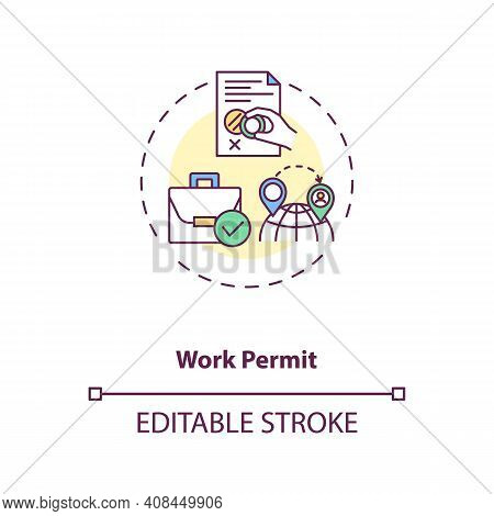 Work Permit Concept Icon. Work Immigration Idea Thin Line Illustration. Business Travel During Covid