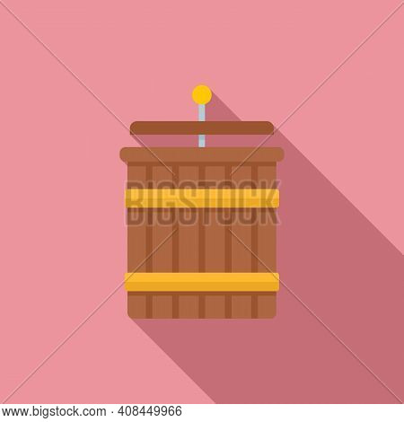 Wood Crush Grapes Icon. Flat Illustration Of Wood Crush Grapes Vector Icon For Web Design