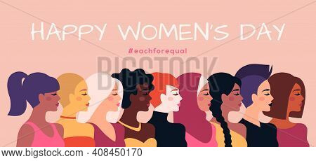 Female Diverse Faces Profile, Different Ethnicity And Hairstyle. Vector Illustration. Woman Empowerm