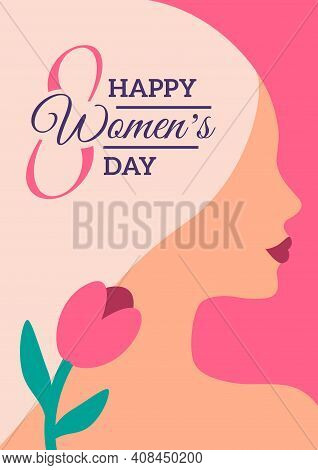 International Womens Day Minimal Poster. Background With Blonde Woman Face And Flower. Greeting Card