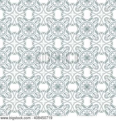 Geometric Pattern On Ceramic Tiles. Seamless Pattern. Portuguese Or Spanish Or Moroccan Traditional