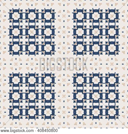 Seamless Pattern From Large Square Ceramic Tiles. Geometric Pattern With Flowers And Hearts. Portugu