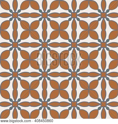 Seamless Pattern From Square Ceramic Tiles. Portuguese, Spanish Or Moroccan Traditional National Orn