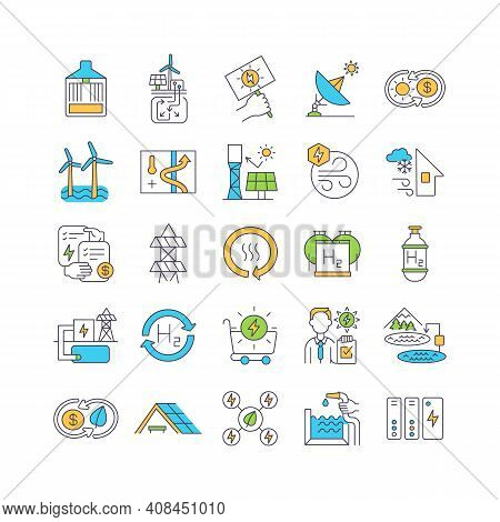 Methods Of Generating Electricity Not Air Pollution Rgb Color Icons Set. Water Energy And Bioenergy.