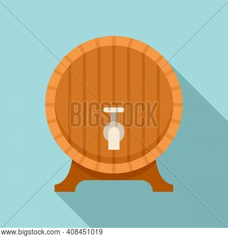 Wood Wine Tap Barrel Icon. Flat Illustration Of Wood Wine Tap Barrel Vector Icon For Web Design