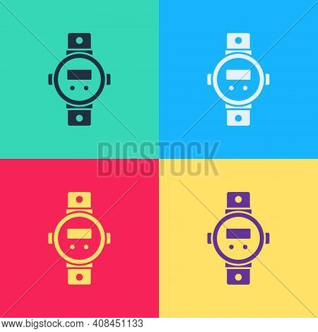 Pop Art Diving Watch Icon Isolated On Color Background. Diving Underwater Equipment. Vector