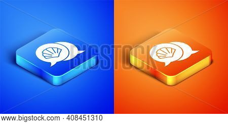 Isometric Scallop Sea Shell Icon Isolated On Blue And Orange Background. Seashell Sign. Square Butto