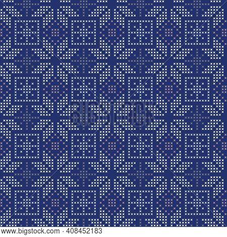 Vector Blue Cross Stitch Winter Seamless Pattern Print Background.