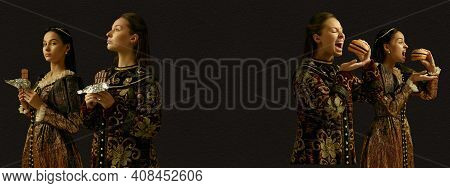 Chocolate And Burgers. Medieval People As A Royalty Persons In Vintage Clothing On Dark Background.