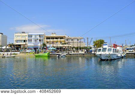 Hersonissos, Crete, Greece - June 11, 2019 : Tourist Boats In Hersonissos Harbour A Popular Tourist