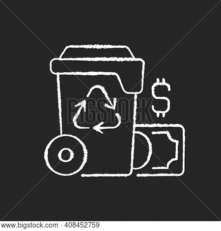Waste Management Cost Chalk White Icon On Black Background. Recycling Waste Costs. Source Reduction.