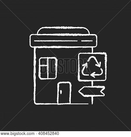 Recycling Collection Center Chalk White Icon On Black Background. Landfill And Material Recovery Fac