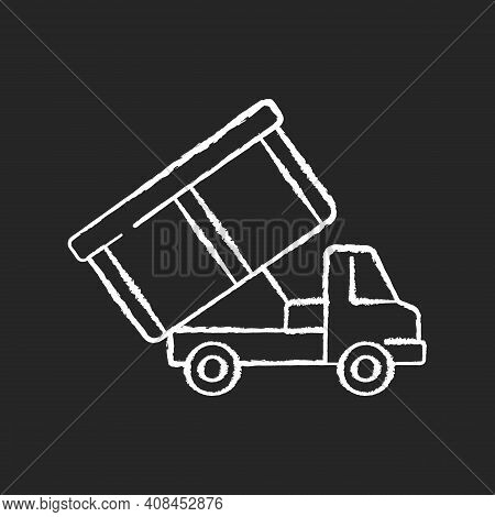 Roll-off Truck Chalk White Icon On Black Background. Open Top Dumpster. Organizational Clear Outs. C