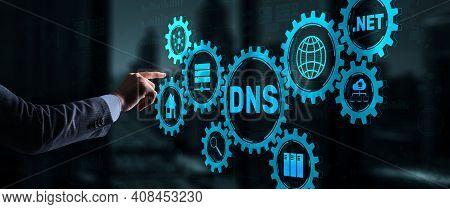 Dns Concept Businessman Touching On Virtual Screen.