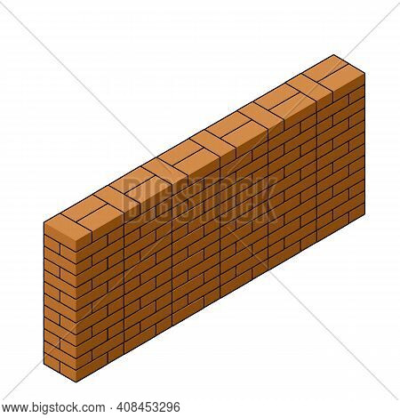 Red Brick Wall Of House. Element Of Building Construction. Stone Object. Isometric Illustration. Sym
