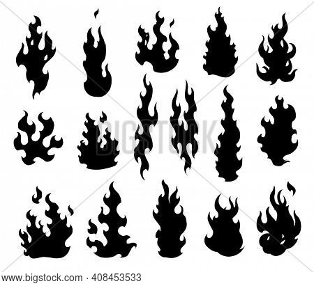 Set fire flames. Cartoon collection of abstract monochrome fires. Flaming illustration. Comic dangerous flame fires isolated