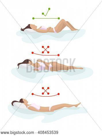 Correct and incorrect sleeping body posture. Position spine in various mattresses. Orthopedic mattress and pillow. Caring for health of back, neck. Comparative illustration. Healthy sleeping position