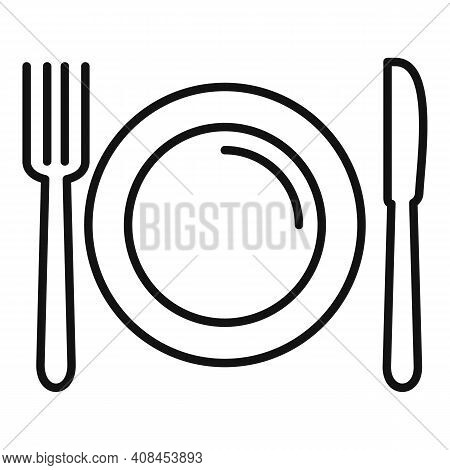 Fork Spoon Dish Icon. Outline Fork Spoon Dish Vector Icon For Web Design Isolated On White Backgroun