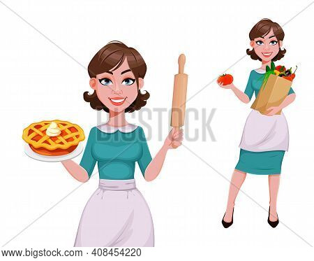 Young Cheerful Housekeeper, Mother, Beautiful Successful Woman. Cheerful Lady Preparing Food, Housew