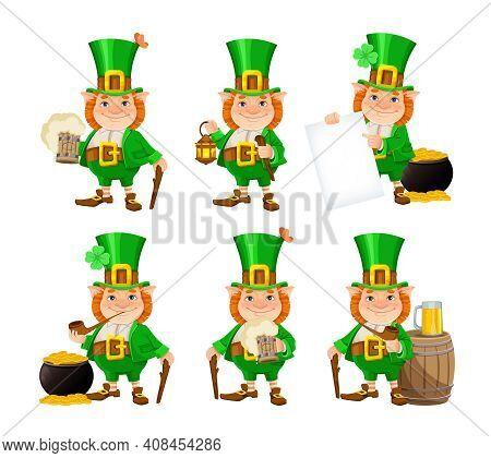 Stock Vector Leprechaun. Happy St Patrick's Day. Cheerful Leprechaun Cartoon Character, Set Of Six P