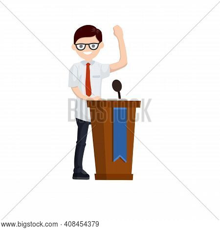 Presidential Election. Male Politician Stands Behind The Podium. Male Speech. Debate And Discussion.