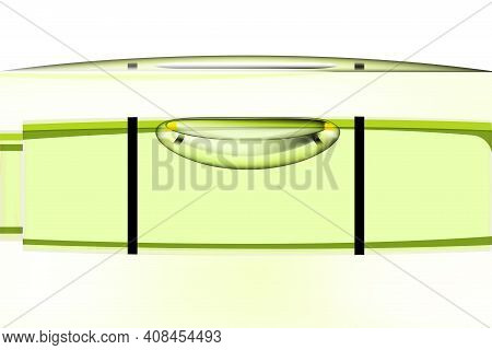 Green Bubble Level, Tool Isolated On White Background. Macro View, Construction Instrument, Realisti