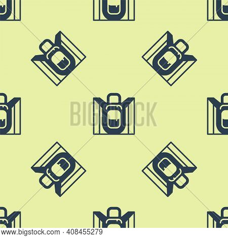 Blue Hiking Backpack Icon Isolated Seamless Pattern On Yellow Background. Camping And Mountain Explo