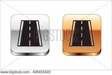 Black Special Bicycle Ride On The Bicycle Lane Icon Isolated On White Background. Silver-gold Square