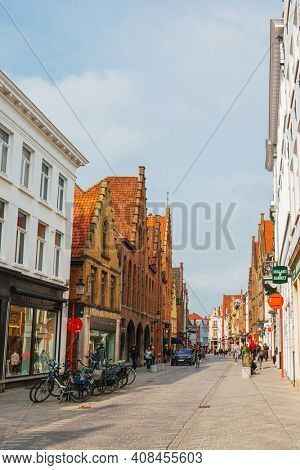 BRUGES, BELGIUM - April 14, 2018: Street view of downtown in Bruges, Belgium